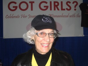 "Mary wearing our ""OM"" hat that sells for $24.99"